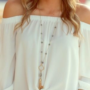 Tops - MARIA OFF-SHOULDER IVORY BELL SLEEVE TOP